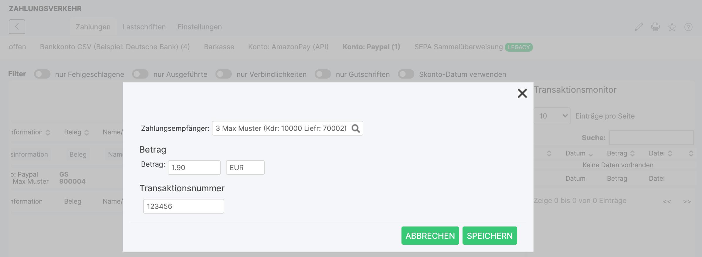 Paypal Transaktionsnummer